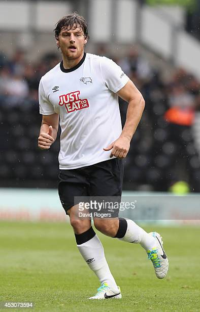 Chris Martin of Derby looks on during the pre season friendly match between Derby County and Rangers at iPro Stadium on August 2 2014 in Derby England
