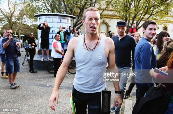 Chris Martin of indie rock band Coldplay is seen shooting a film clip along King Street in Newtown on June 17 2014 in Sydney Australia
