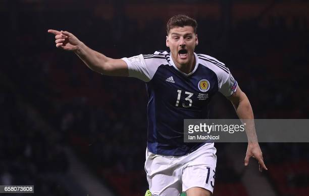 Chris Martin of Scotland celebrates after he scores during the FIFA 2018 World Cup Qualifier between Scotland and Slovenia at Hampden Park on March...
