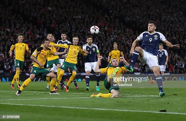 Chris Martin of Scotland controls the ball during the FIFA 2018 World Cup Qualifier between Scotland and Lithuania at Hampden Park on October 8 2016...