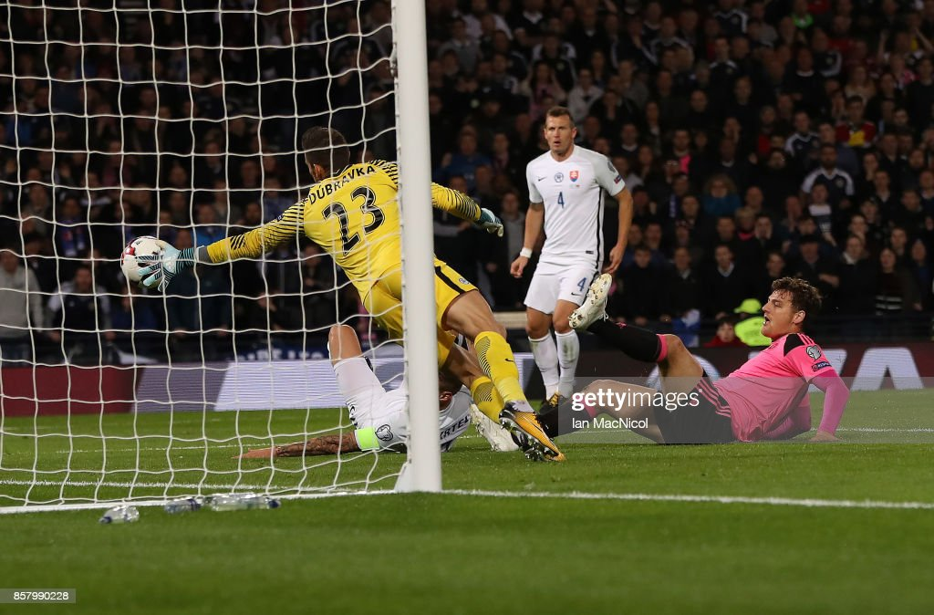 Chris Martin of Scotland scores during the FIFA 2018 World Cup Qualifier between Scotland and Slovakia at Hampden Park on October 5, 2017 in Glasgow, Scotland.