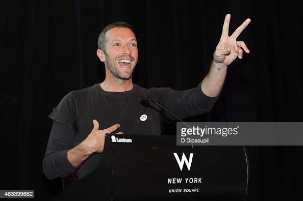 Chris Martin speaks onstage during the Global Citizen 2015 Launch Party at the W New York Union Square on February 13 2015 in New York City
