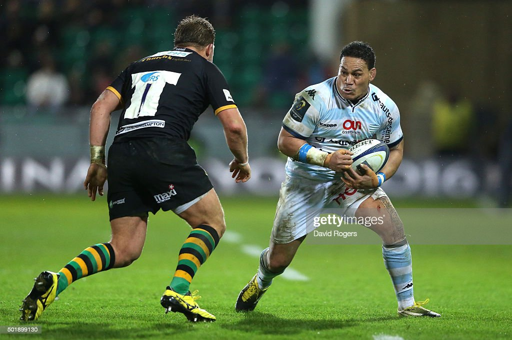 <a gi-track='captionPersonalityLinkClicked' href=/galleries/search?phrase=Chris+Masoe&family=editorial&specificpeople=540337 ng-click='$event.stopPropagation()'>Chris Masoe</a> of Racing 92 takes on Alex Waller during the European Rugby Champions Cup match between Northampton Saints and Racing 92 at Franklin's Gardens on December 18, 2015 in Northampton, England.