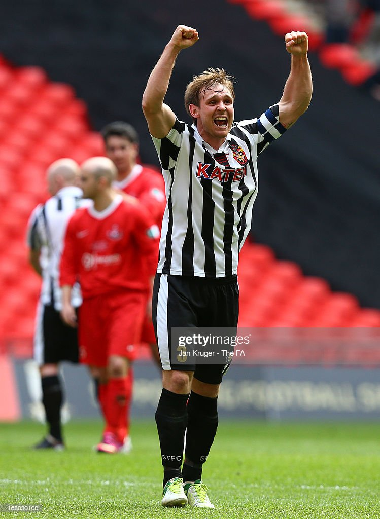 Chris Mason of Spennymoor Town celebrates the win during the FA Carlsberg Vase Final match between Spennymoor Town FC and Tunbridge Wells FC at Wembley Stadium on May 4, 2013 in London, England.