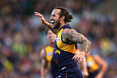 Chris Masten of the Eagles celebrates a goal during the round 16 AFL match between the West Coast Eagles and the North Melbourne Kangaroos at Domain...