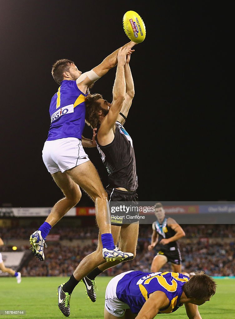 Chris Masten of the Eagles challenges Justin Westhoff of the Power during the round five AFL match between Port Adelaide Power and the West Coast Eagles at AAMI Stadium on April 27, 2013 in Adelaide, Australia.