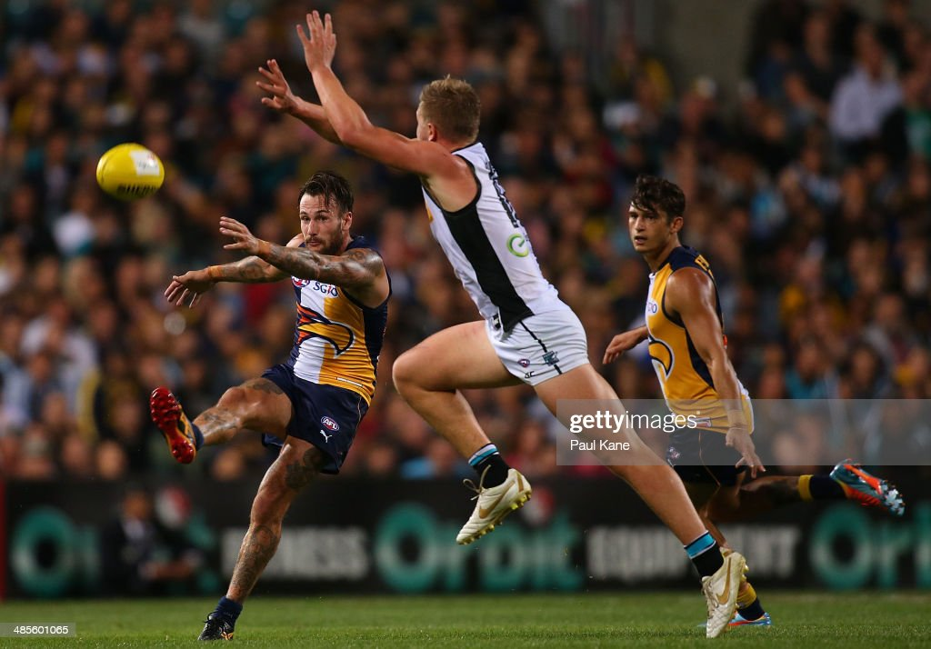 Chris Masten of the Eagles kicks the ball forward during the round five AFL match between the West Coast Eagles and the Port Power at Patersons Stadium on April 19, 2014 in Perth, Australia.