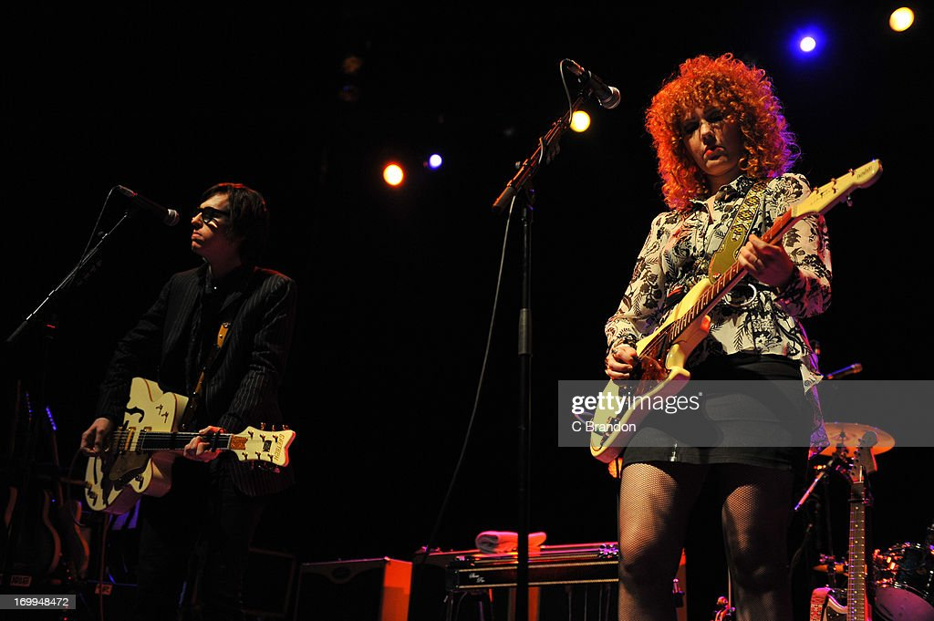Chris Masterson and Eleanor Whitmore of The Mastersons perform on stage on May 21, 2013 in London, United Kingdom.