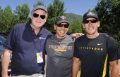Chris Matthews Antonio Villaraigosa and Chris Armstrong at the start of the hike of the Ute Trail during Aspen Ideas Festival 2011 day 4 on July 2...