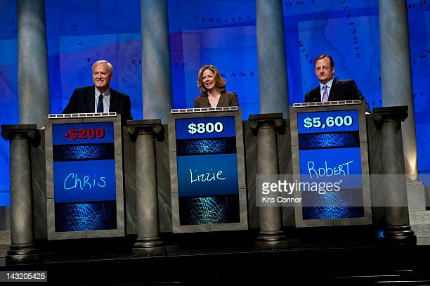 Chris Matthews Lizzie O'Leary and Robert Gibbs speaks during a rehearsal before a taping of Jeopardy Power Players Week at DAR Constitution Hall on...