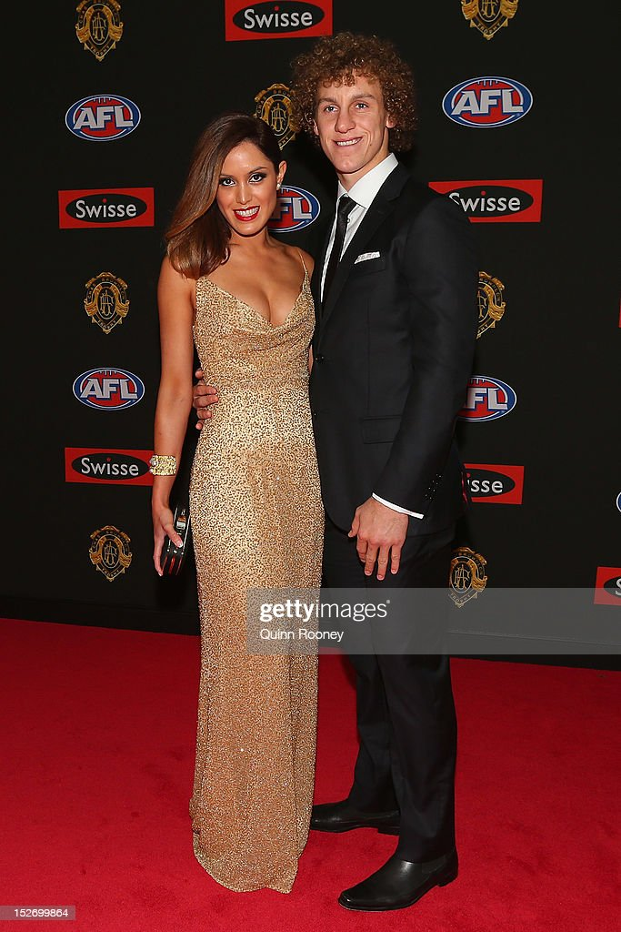 Chris Mayne of the Dockers and his partner Kathleen Furey pose ahead of the 2012 Brownlow Medal at Crown Palladium on September 24, 2012 in Melbourne, Australia.