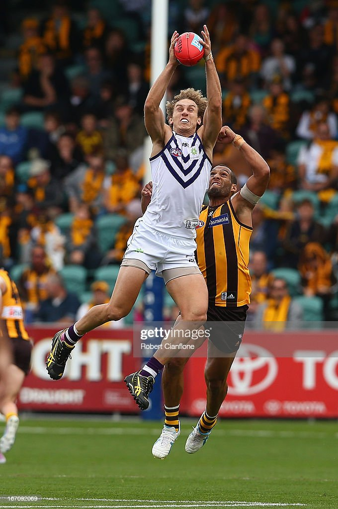 Chris Mayne of the Dockers marks the ball in front of Josh Gibson of the Hawks during the round four AFL match between the Hawthorn Hawks and the Fremantle Dockers at Aurora Stadium on April 20, 2013 in Launceston, Australia.