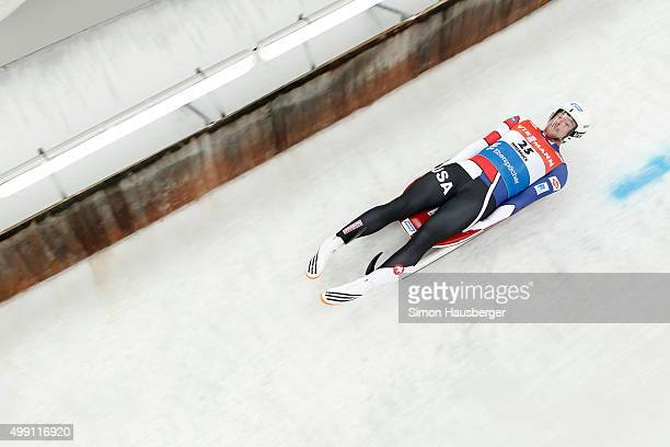 Chris Mazder of USA in action during the Viessmann Luge World Cup at Olympiabobbahn Igls on November 29 2015 in Innsbruck Austria