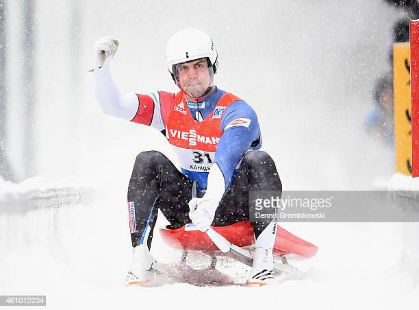 Chris Mazdzer of the United States celebrates as he finishes third in the Men's FIL Luge World Cup Koenigssee at Deutsche Post Eisarena on January 4...