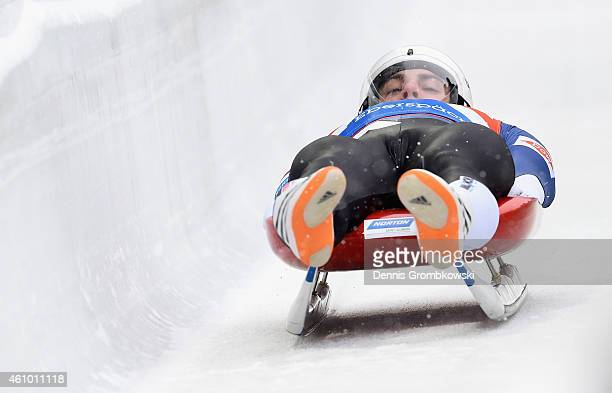 Chris Mazdzer of the United States competes in the 1st run of the Men's FIL Luge World Cup Koenigssee at Deutsche Post Eisarena on January 4 2015 in...