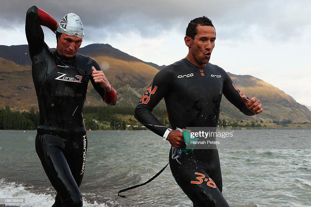 Chris McCormack of Australia exits the water in the Challenge Wanaka on January 19, 2013 in Wanaka, New Zealand.