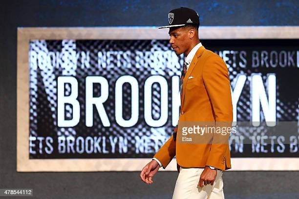 Chris McCullough leaves the stage after being selected 29th overall by the Brooklyn Nets in the First Round of the 2015 NBA Draft at the Barclays...