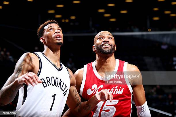 Chris McCullough of the Brooklyn Nets boxes out Vince Carter of the Memphis Grizzlies on February 10 2016 at Barclays Center in Brooklyn New York...
