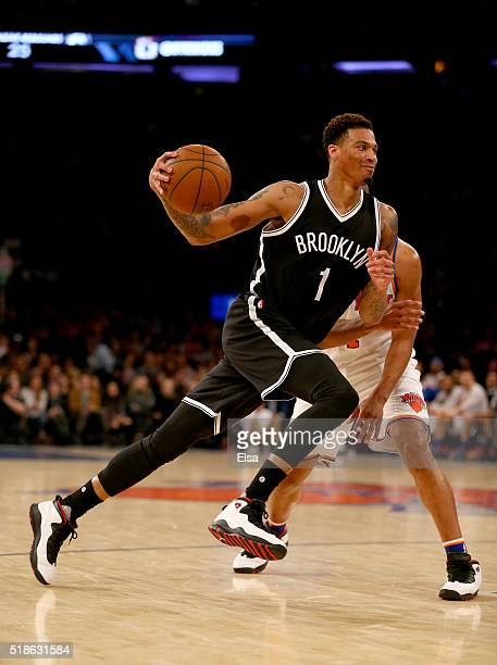 Chris McCullough of the Brooklyn Nets drives past Arron Afflalo of the New York Knicks at Madison Square Garden on April 1 2016 in New York City NOTE...
