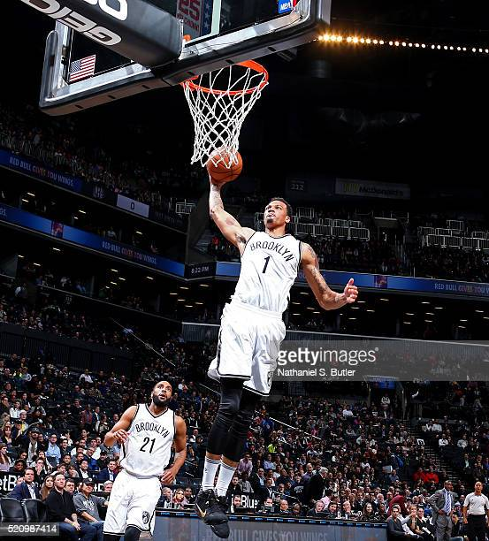 Chris McCullough of the Brooklyn Nets dunks the ball against the Toronto Raptors on April 13 2016 at Barclays Center in Brooklyn New York NOTE TO...