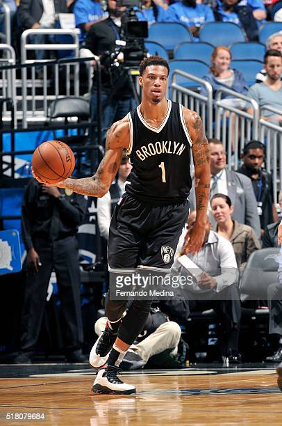 Chris McCullough of the Brooklyn Nets handles the ball during the game against the Orlando Magic on March 29 2016 at Amway Center in Orlando Florida...