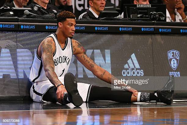 Chris McCullough of the Brooklyn Nets in action against the Denver Nuggets in his NBA debut at the Barclays Center on February 8 2016 in Brooklyn...