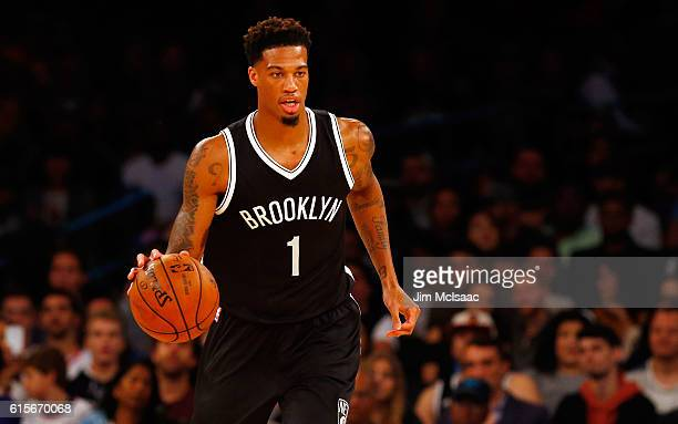 Chris McCullough of the Brooklyn Nets in action against the New York Knicks at Madison Square Garden on October 8 2016 in New York City The Knicks...