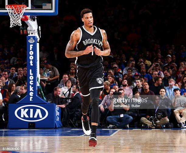 Chris McCullough of the Brooklyn Nets looks on during the game against the New York Knicks on April 1 2016 at Madison Square Garden in New York City...