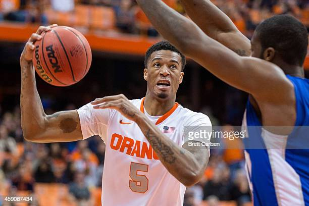 Chris McCullough of the Syracuse Orange drives to the basket against the Hampton Pirates on November 16 2014 at The Carrier Dome in Syracuse New York...