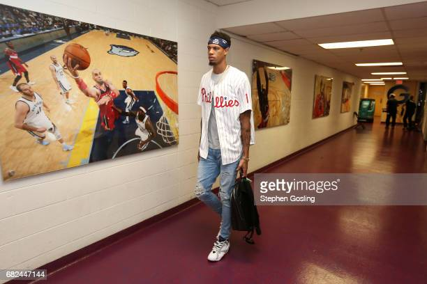 Chris McCullough of the Washington Wizards arrives to the arena before the game against the Boston Celtics during Game Six of the Eastern Conference...