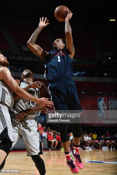 Chris McCullough of the Washington Wizards shoots the ball against the Minnesota Timberwolves on July 14 2017 at the Thomas Mack Center in Las Vegas...
