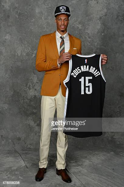 Chris McCullough poses for a portrait after being drafted number twentynine overall by the Brooklyn Nets at the Barclays Center on June 25 2015 in...