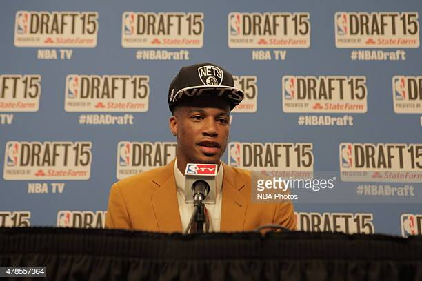 Chris McCullough the 29th overall pick of the NBA Draft by the Brooklyn Nets speaks at a press conference during the 2015 NBA Draft on June 25 2015...