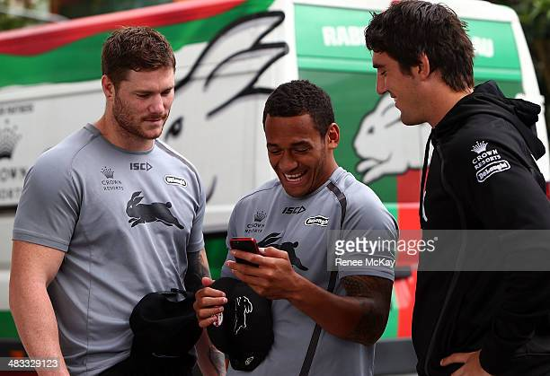 Chris McQueen Apisai Koroisau and Joel Reddy joke around during a South Sydney Rabbitohs NRL training session at Redfern Oval on April 8 2014 in...