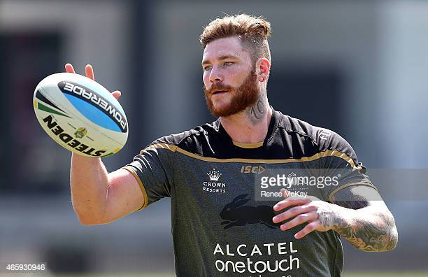 Chris McQueen catches the ball during a South Sydney Rabbitohs NRL training session at Redfern Oval on March 12 2015 in Sydney Australia