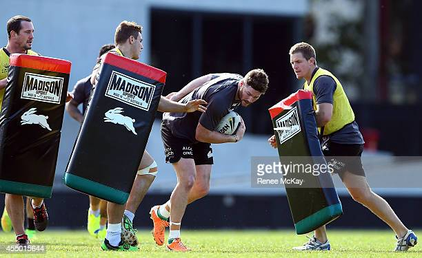 Chris McQueen in action during a South Sydney Rabbitohs NRL training session at Redfern Oval on September 9 2014 in Sydney Australia