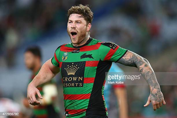 Chris McQueen of the Rabbitohs celebrates victory during the round nine NRL match between the South Sydney Rabbitohs and the St George Illawarra...