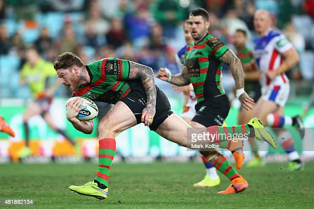 Chris McQueen of the Rabbitohs makes a break during the round 20 NRL match between the South Sydney Rabbitohs and the Newcastle Knights at ANZ...