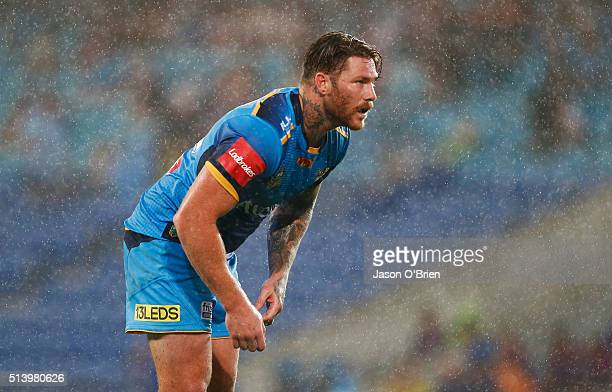 Chris McQueen of the Titans looks on during the round one NRL match between the Gold Coast Titans and the Newcastle Knights at Cbus Super Stadium on...