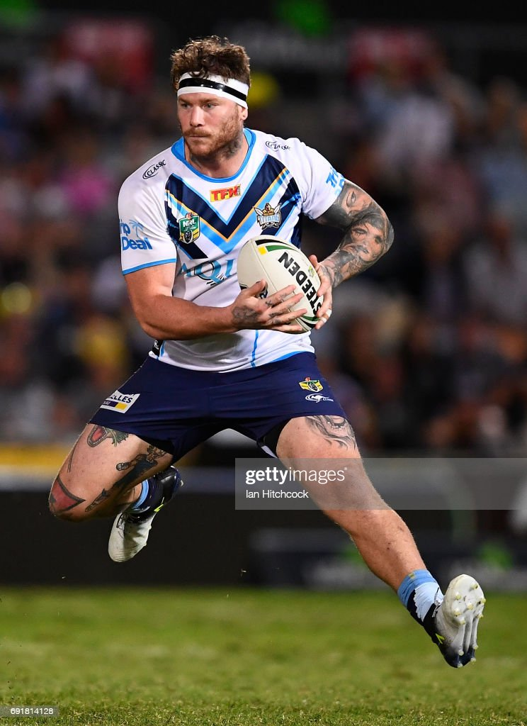 Chris McQueen of the Titans runs the ball during the round 13 NRL match between the North Queensland Cowboys and the Gold Coast Titans at 1300SMILES Stadium on June 3, 2017 in Townsville, Australia.