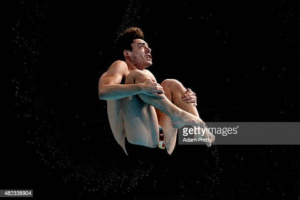 Chris Mears of Great Britain competes in the Men's 3m Springboard Diving Semifinals on day six of the 16th FINA World Championships at the Aquatics...