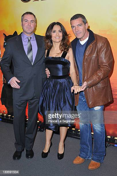 Chris Miller Salma Hayek and Antonio Banderas attend the 'Puss in Boots' Paris Premiere on November 20 2011 in Paris France
