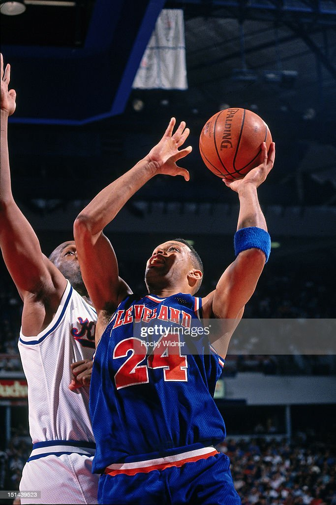 Chris Mills of the Cleveland Cavaliers shoots against the Sacramento Kings on January 22 1994 at Arco Arena in Sacramento California NOTE TO USER...