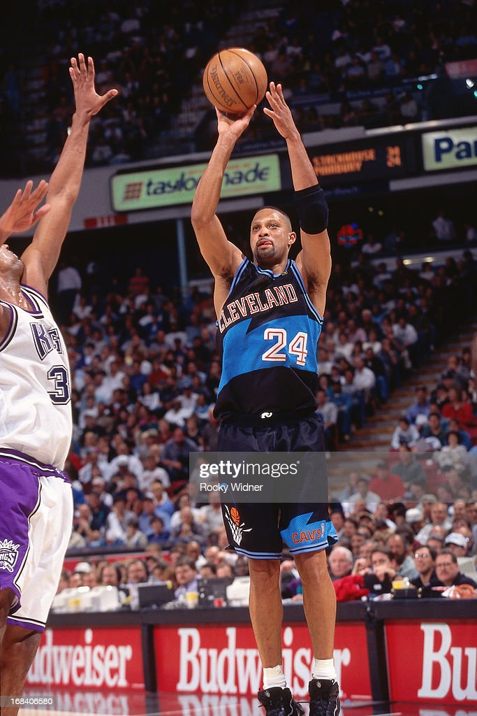 Chris Mills of the Cleveland Cavaliers shoots the ball against the Sacramento Kings during a game played on March 11 1997 at Arco Arena in Sacramento...