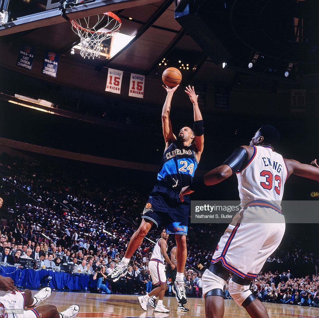 Chris Mills of the Cleveland Caviliers goes up for a shot against the New York Knicks during a game played on April 8 1997 at Madison Square Garden...