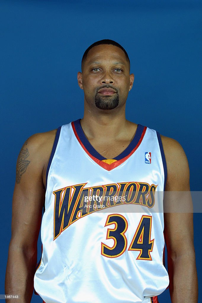 Chris Mills of the Golden State Warriors poses for a portrait during the Warrior's Media Day on September 30 2002 at The Arena in Oakland in Oakland...