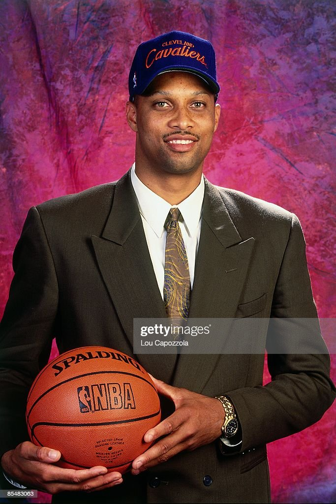 Chris Mills selected number twenty two overall by the Cleveland Cavaliers poses for a portrait during the 1993 NBA Draft on June 30 1993 at the...