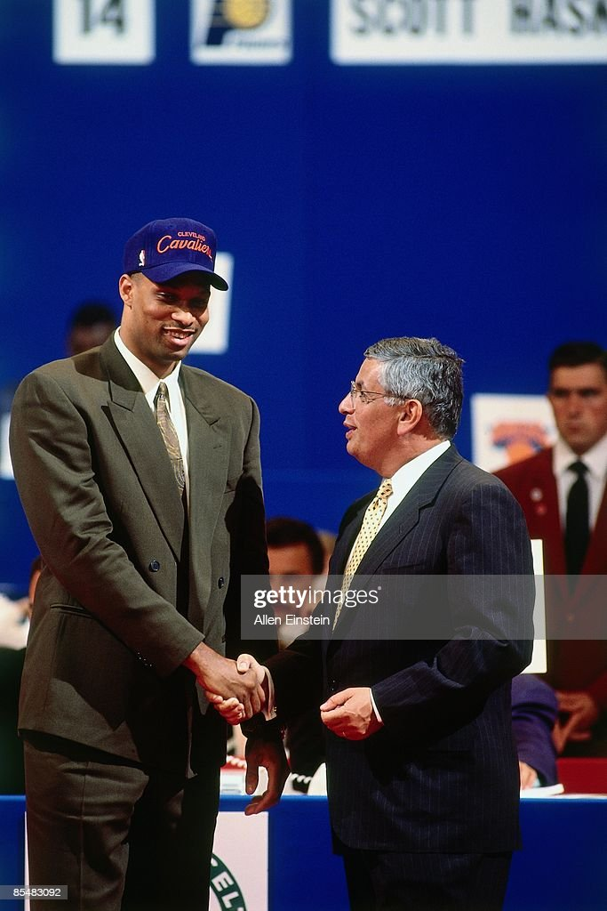 Chris Mills selected number twenty two overall by the Cleveland Cavaliers shakes hands with NBA Commissioner David Stern during the 1993 NBA Draft on...