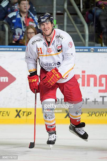 Chris Minard of the Duesseldorfer EG smiles during the DEL game between the Eisbaeren Berlin and Duesseldorfer EG on January 22 2016 in Berlin Germany