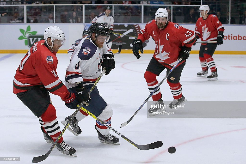 Chris Minella of USA controls the puck during the match between Team USA and Team Canada at Rod Laver Arena on June 17 2016 in Melbourne Australia